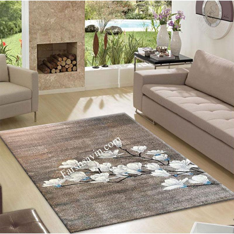 فرش ساوین 4037 شکلاتی فرش مناسب اتاق خواب