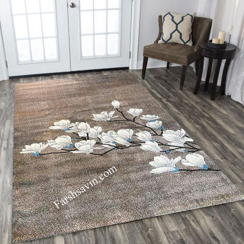 فرش ساوین 4037 شکلاتی فرش خاص