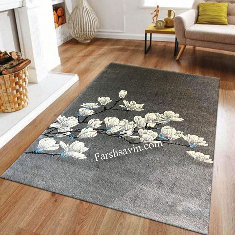 فرش ساوین 4037 نقره ای روشن فرش مدرن