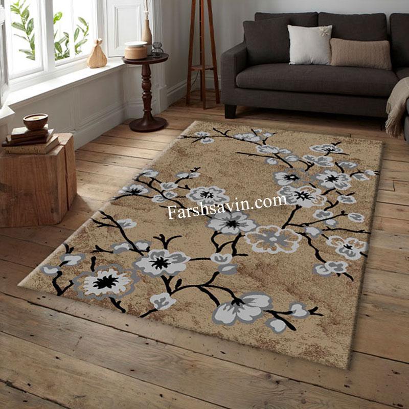 فرش ساوین 4038 شکلاتی فرش اتاق پذیرایی