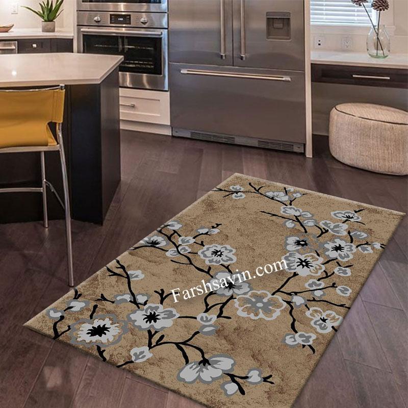 فرش ساوین 4038 شکلاتی فرش با کیفیت