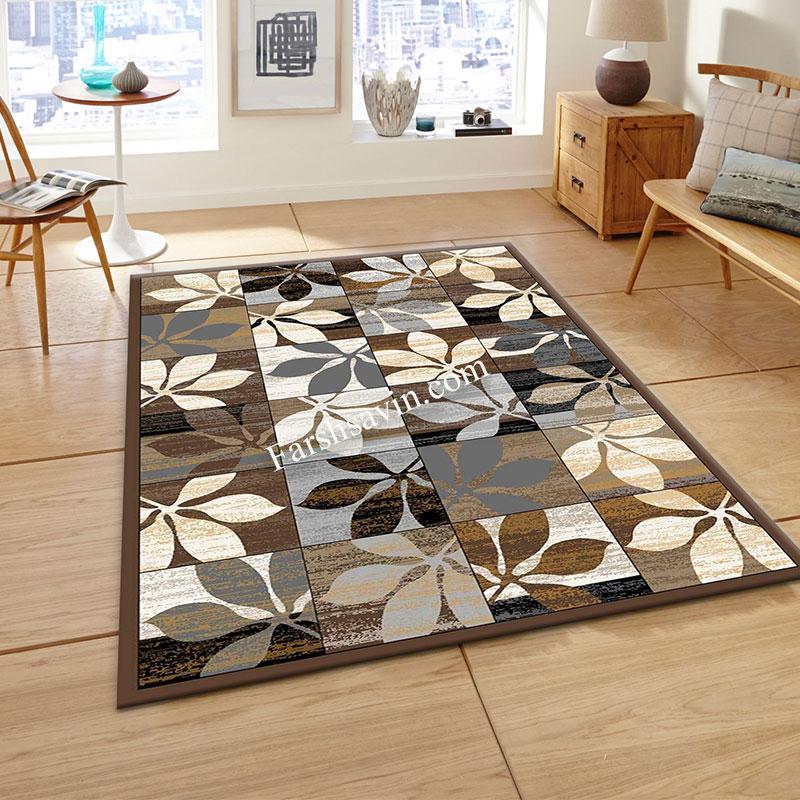 فرش ساوین 4039 نسکافه ای فرش مناسب اتاق خواب
