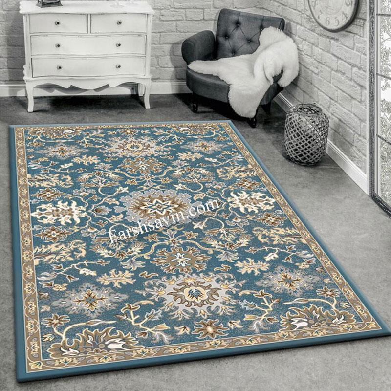 فرش ساوین 4041 آبی فرش آشپزخانه
