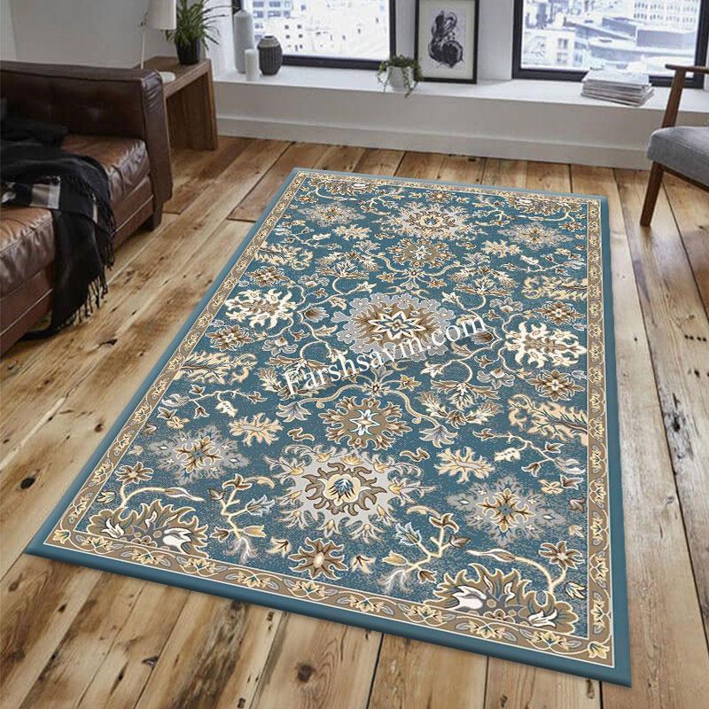 فرش ساوین 4041 آبی فرش ارزان