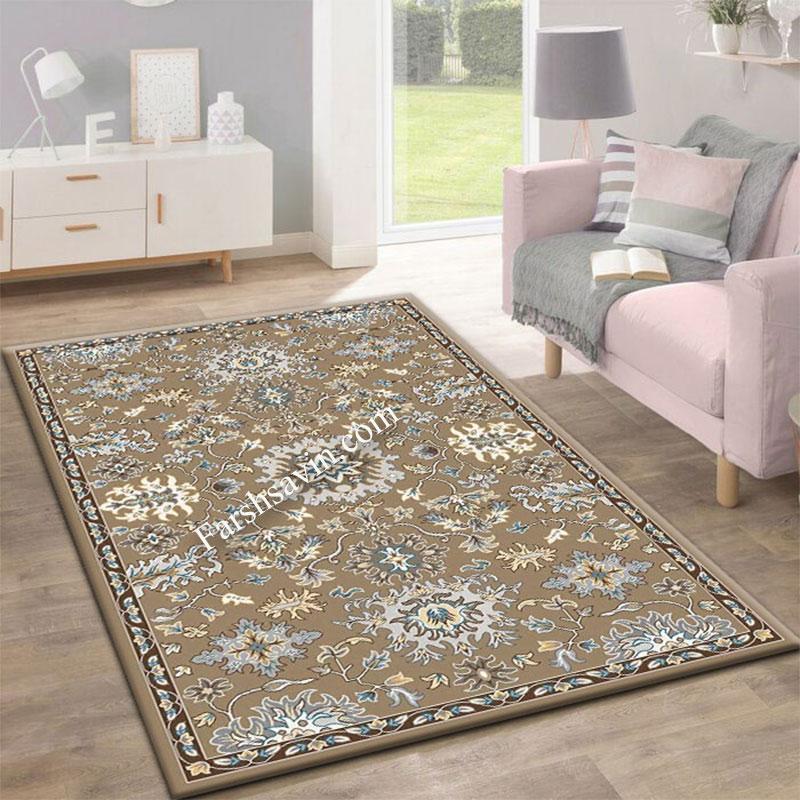 فرش ساوین 4041 شکلاتی فرش اتاق خواب