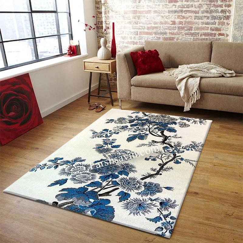 فرش ساوین 4042 کرم فرش اتاق پذیرایی