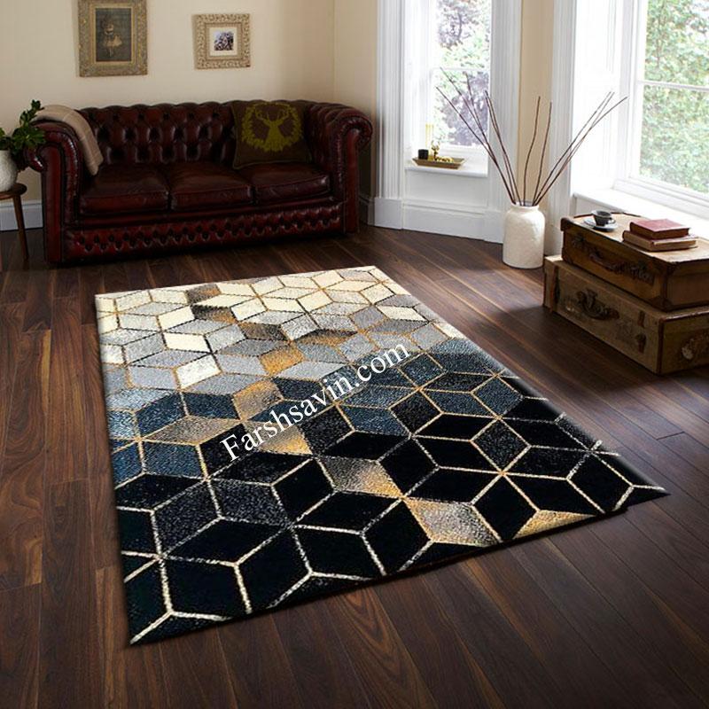 فرش ساوین 4043 مشکی فرش با کیفیت