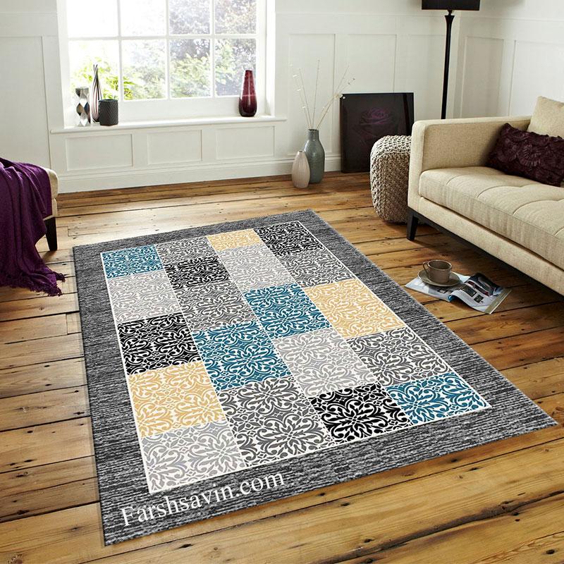 فرش ساوین 4044 طوسی فرش مناسب اتاق پذیرایی