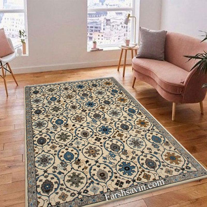 فرش ساوین 4048 زمینه کرم فرش اتاق خواب