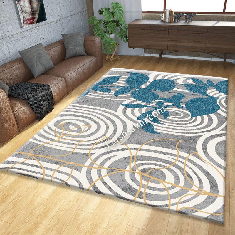 فرش ساوین 4050 نقره ای فرش خاص