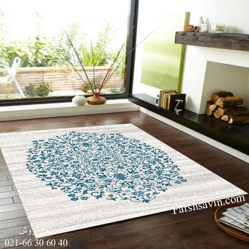 فرش ساوین 4042 کرم فرش مدرن