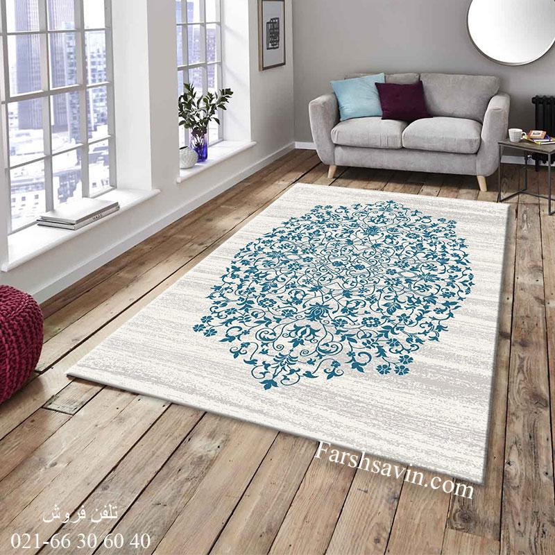 فرش ساوین 4042 کرم فرش زیبا
