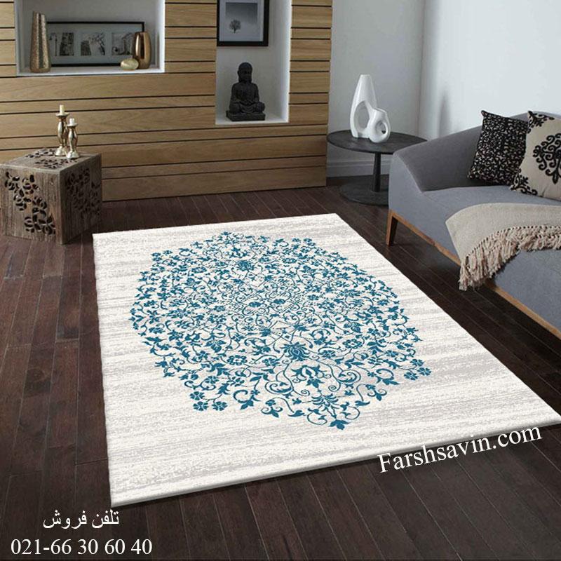 فرش ساوین 4042 کرم فرش خوش نقشه