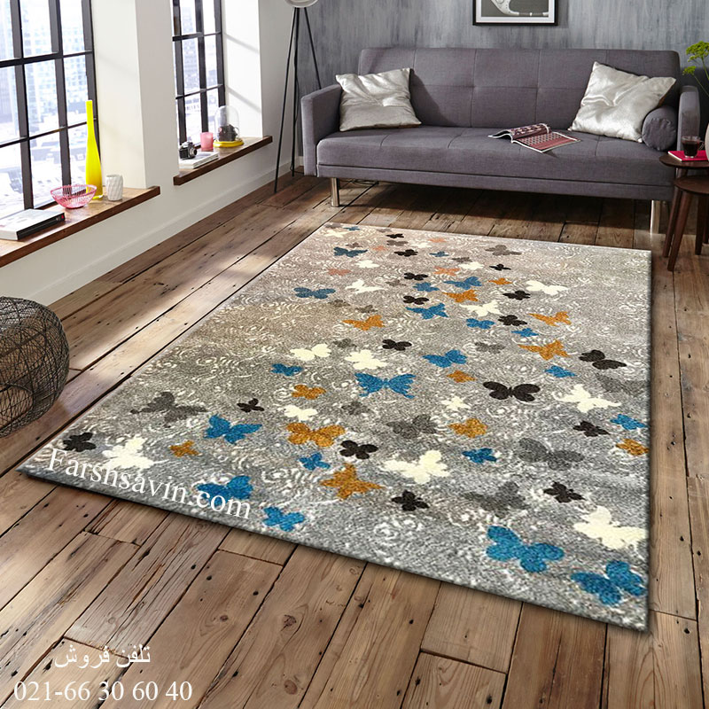 فرش ساوین 4054 نقره ای روشن فرش باکیفیت