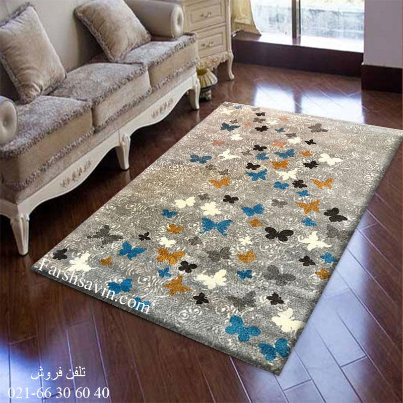 فرش ساوین 4054 نقره ای روشن فرش مناسب اتاق خواب