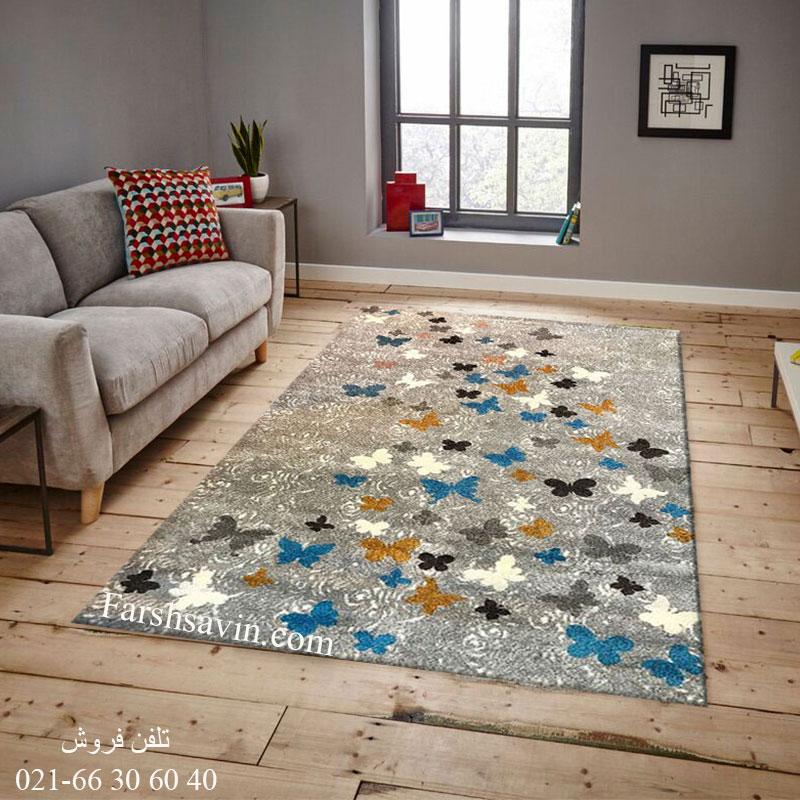 فرش ساوین 4054 نقره ای روشن فرش خاص