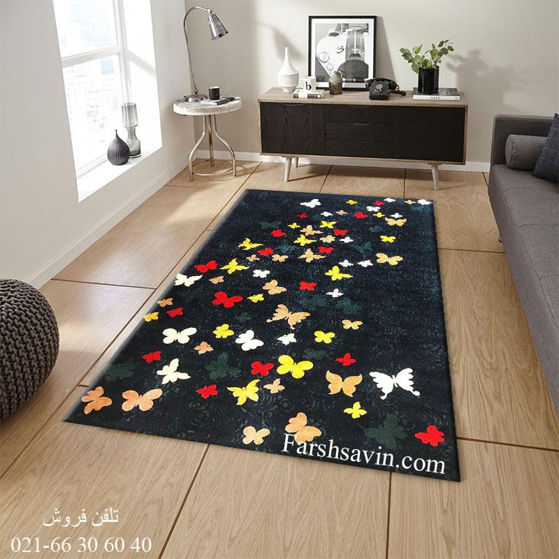 فرش ساوین 4054 سرمه ای فرش اتاق خواب