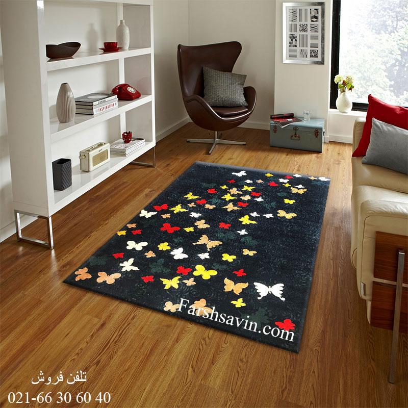 فرش ساوین 4054 سرمه ای فرش آشپزخانه