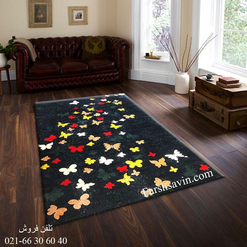 فرش ساوین 4054 سرمه ای فرش پرفروش