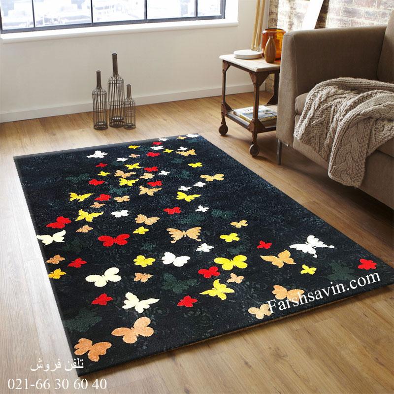 فرش ساوین 4054 سرمه ای فرش باکلاس