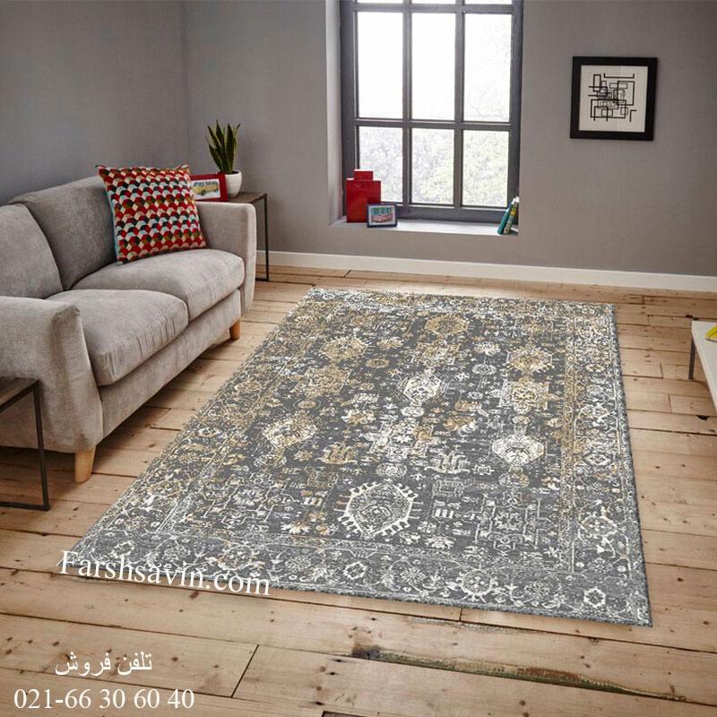 فرش ساوین 4061 طوسی فرش باکیفیت