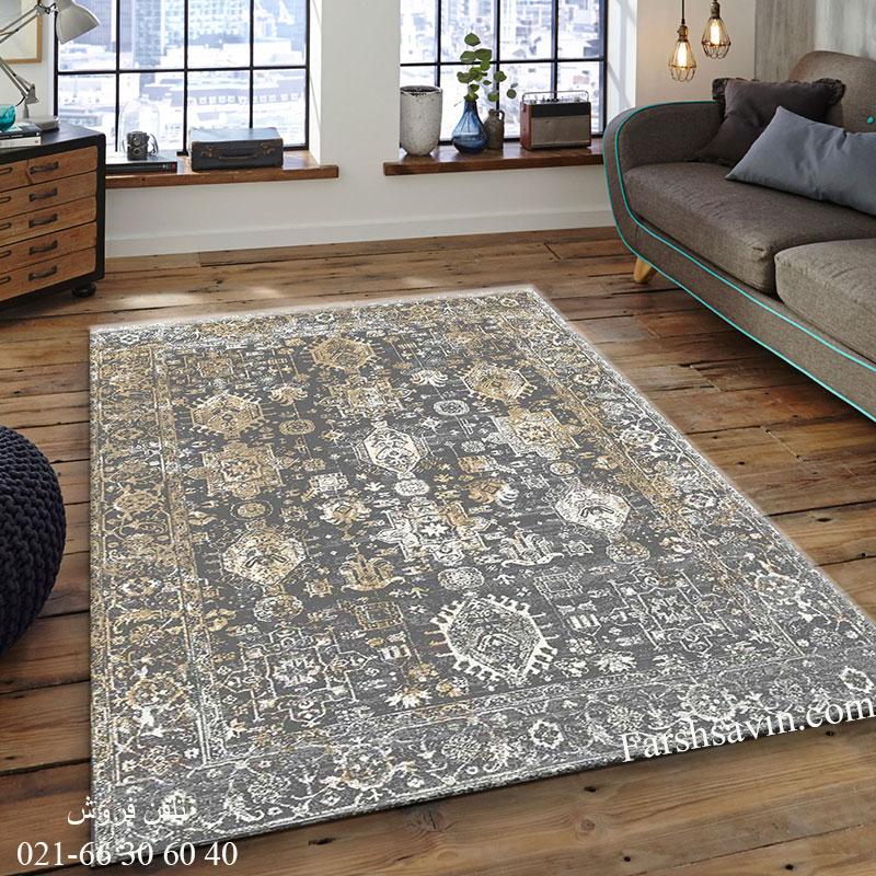 فرش ساوین 4061 طوسی فرش پرفروش