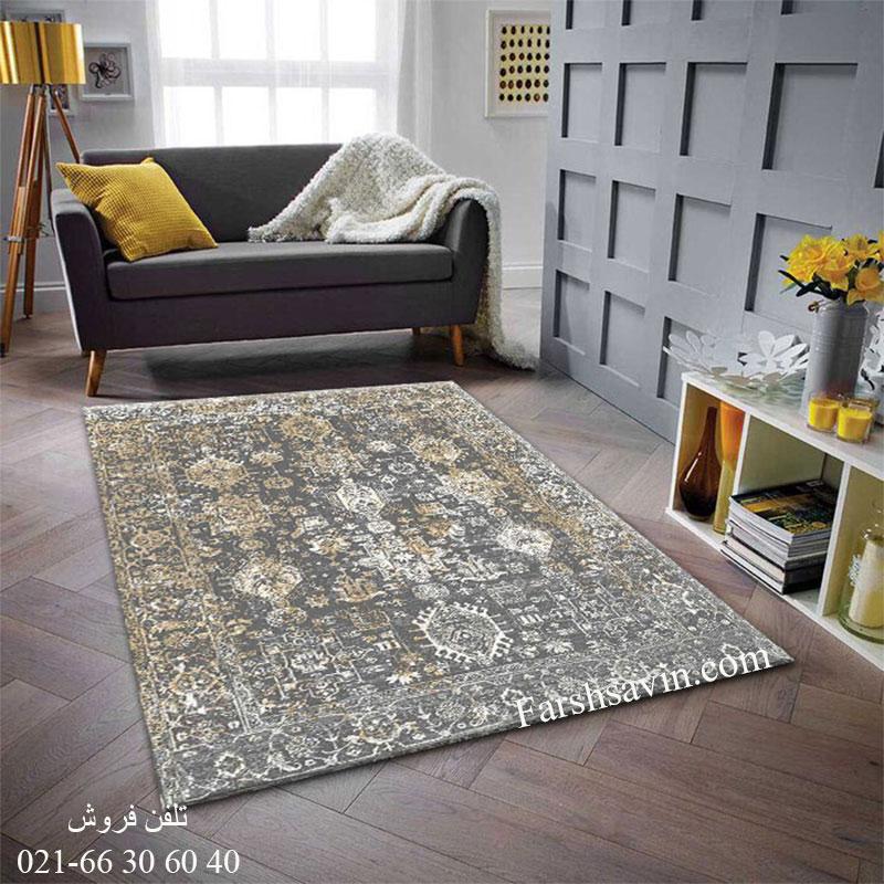 فرش ساوین 4061 طوسی فرش خاص
