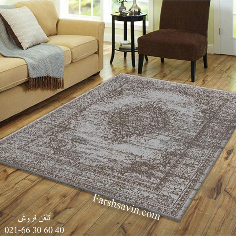 فرش ساوین 4062 نقره ای مشکی فرش فانتزی