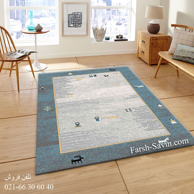 فرش ساوین 4064 آبی فرش ارزان