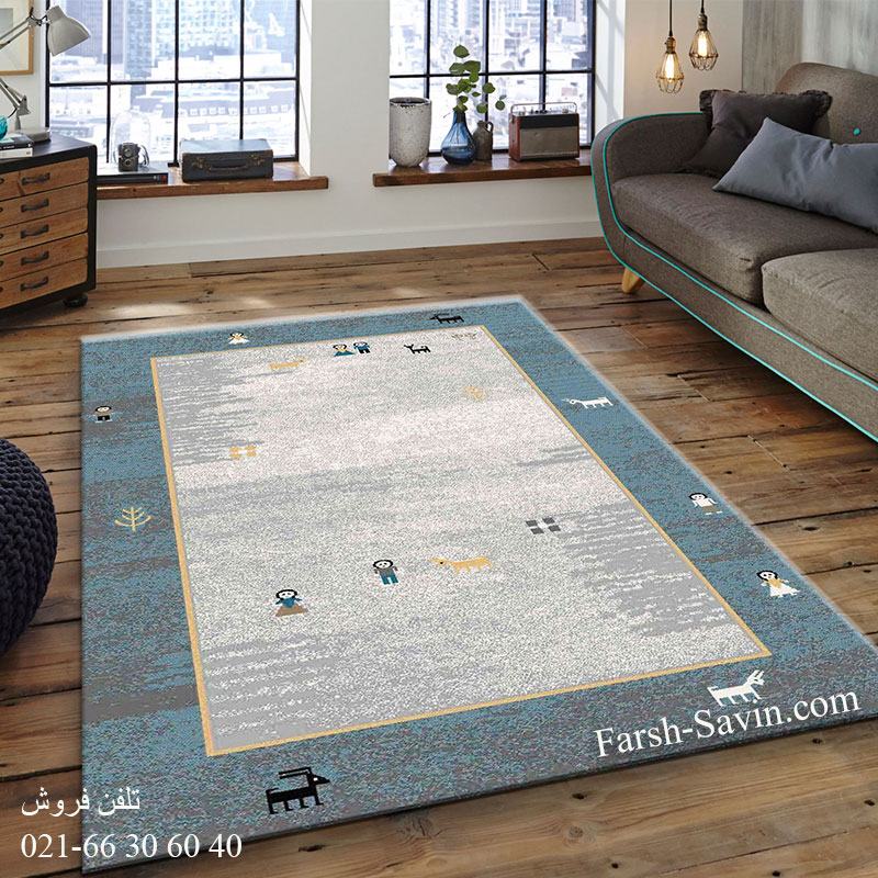 فرش ساوین 4064 آبی فرش بادوام