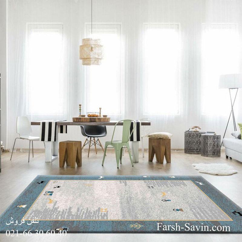 فرش ساوین 4064 آبی فرش باکیفیت