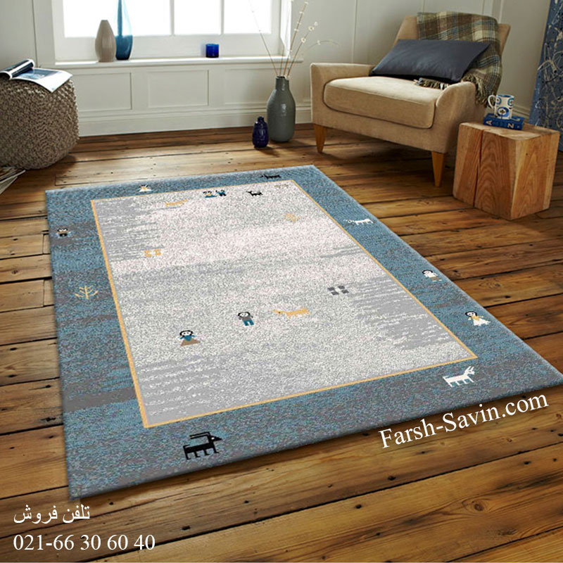 فرش ساوین 4064 آبی فرش فانتزی