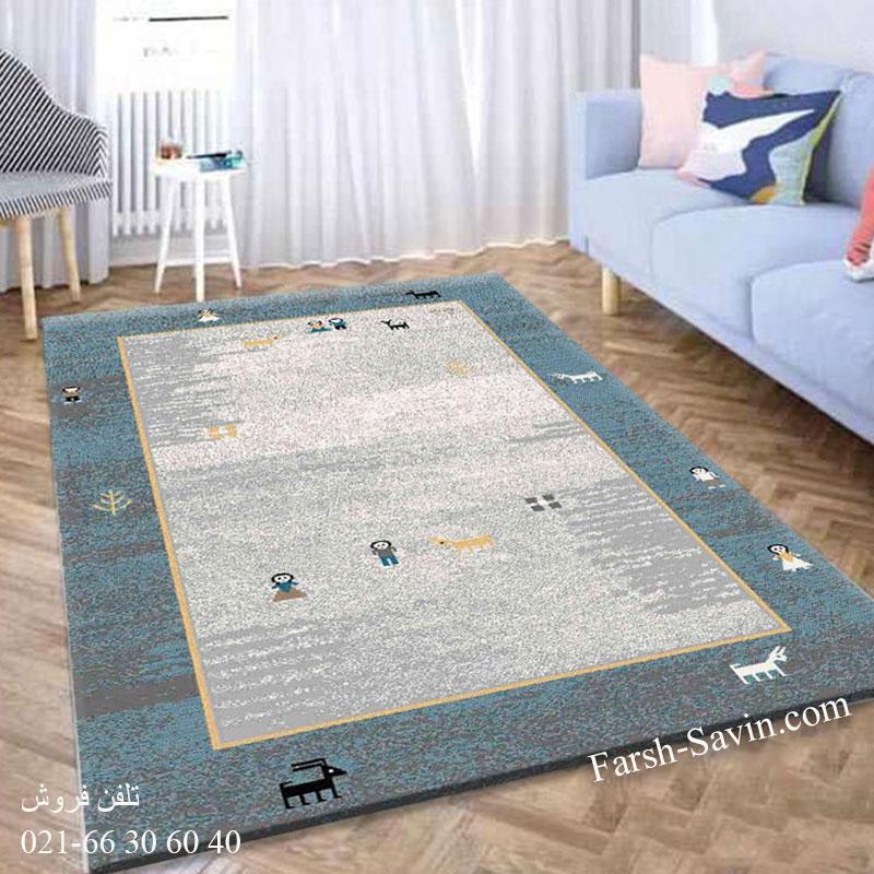 فرش ساوین 4064 آبی فرش پرفروش