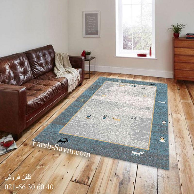 فرش ساوین 4064 آبی فرش مدرن