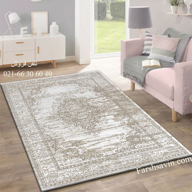 فرش ساوین 4062 نقره ای فرش باکیفیت