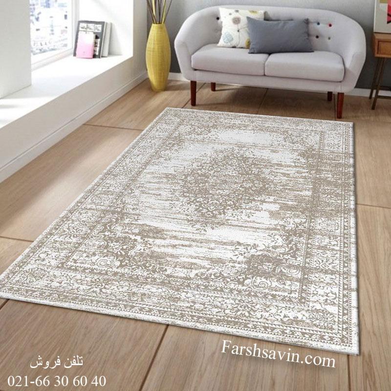 فرش ساوین 4062 نقره ای فرش مدرن