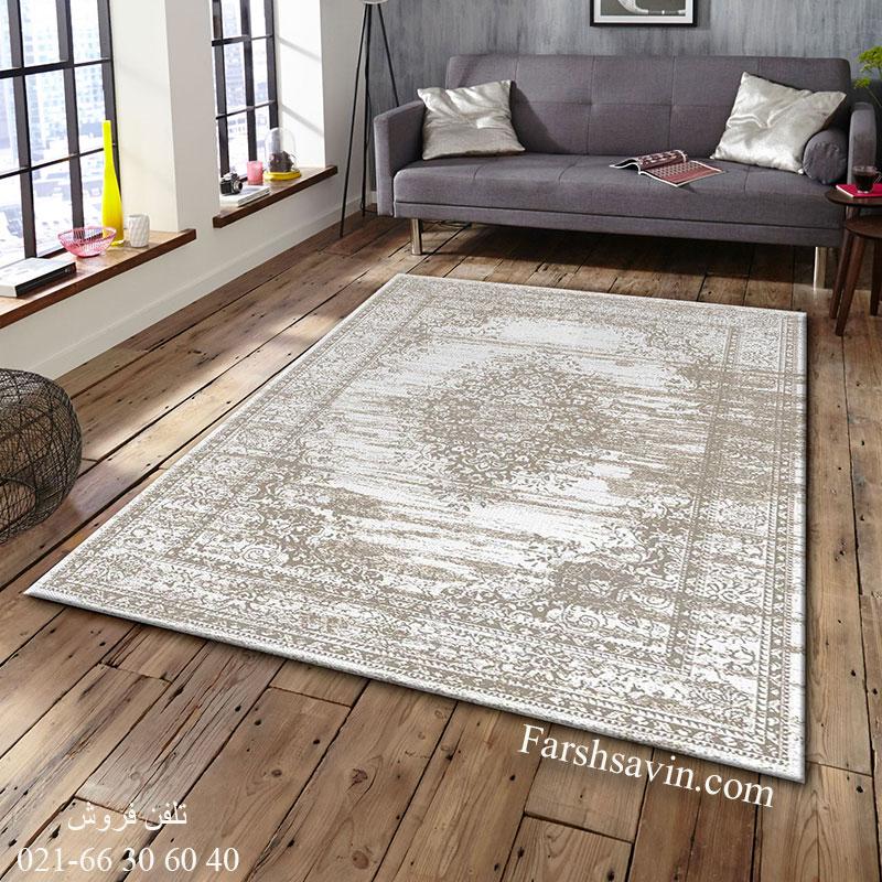 فرش ساوین 4062 نقره ای فرش پرفروش