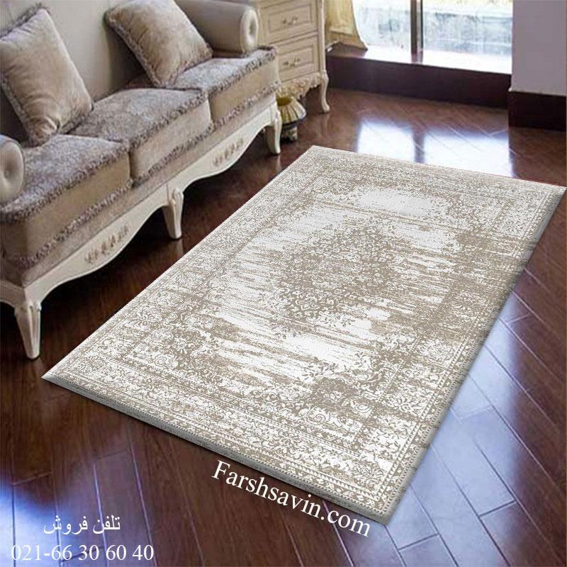 فرش ساوین 4062 نقره ای فرش خاص وشیک