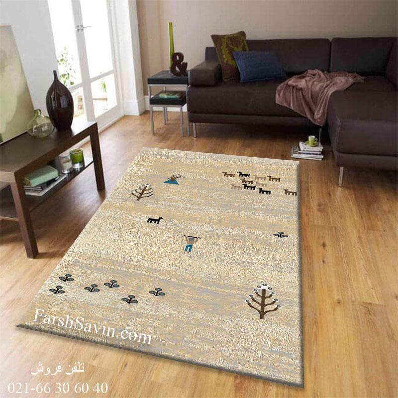 فرش ساوین 4065 کرم فرش ارزان