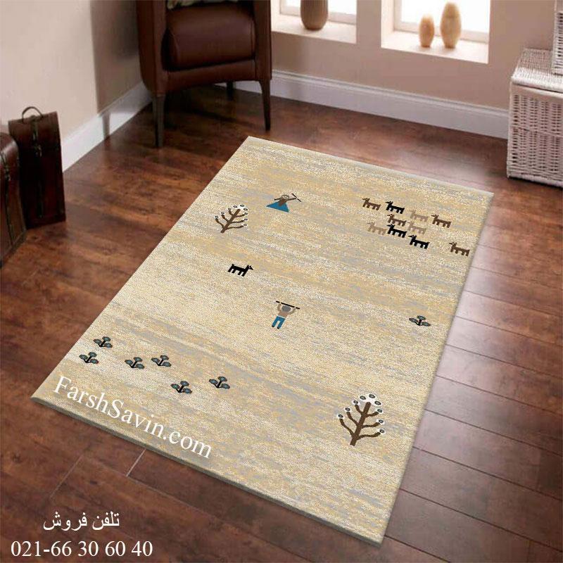 فرش ساوین 4065 کرم فرش فانتزی
