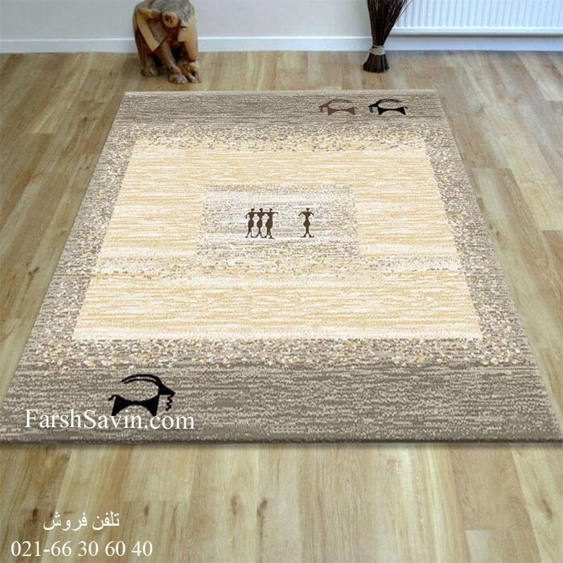 فرش ساوین 4066 شکلاتی فرش ارزان