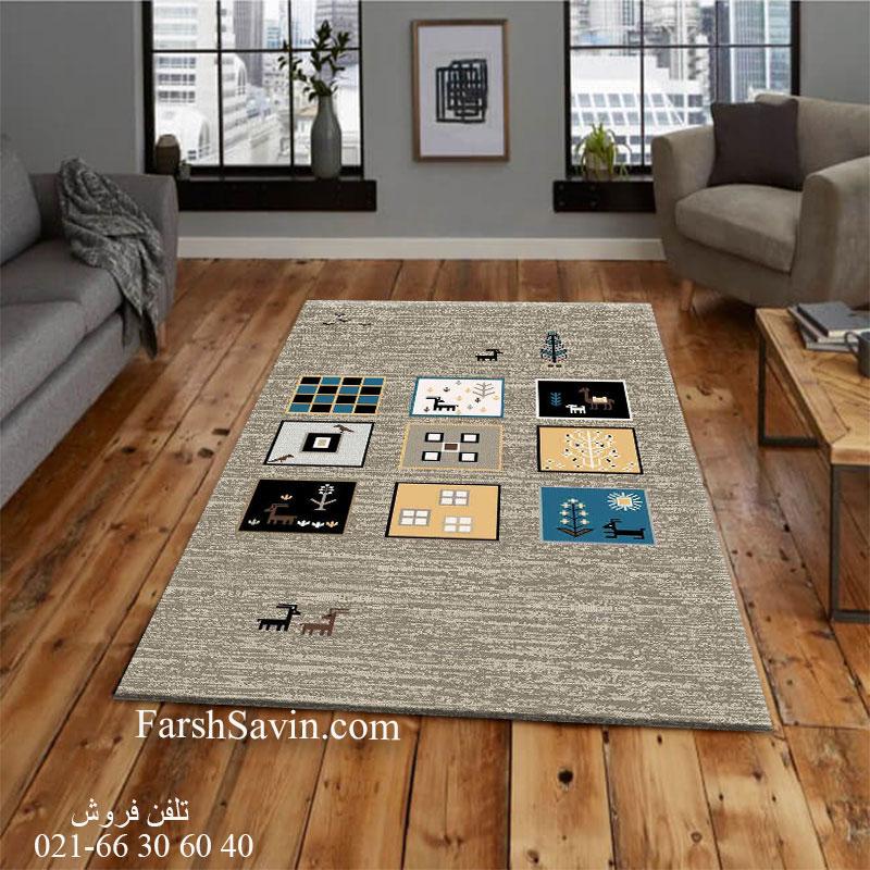 فرش ساوین 4068 شکلاتی فرش خاص