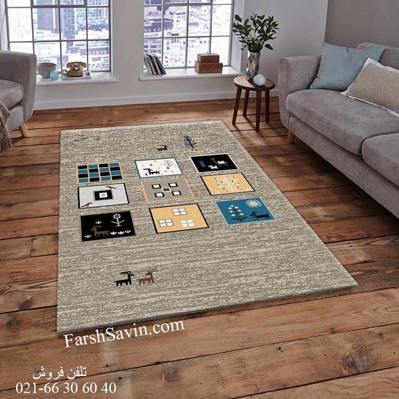 فرش ساوین 4068 شکلاتی فرش اتاق خواب