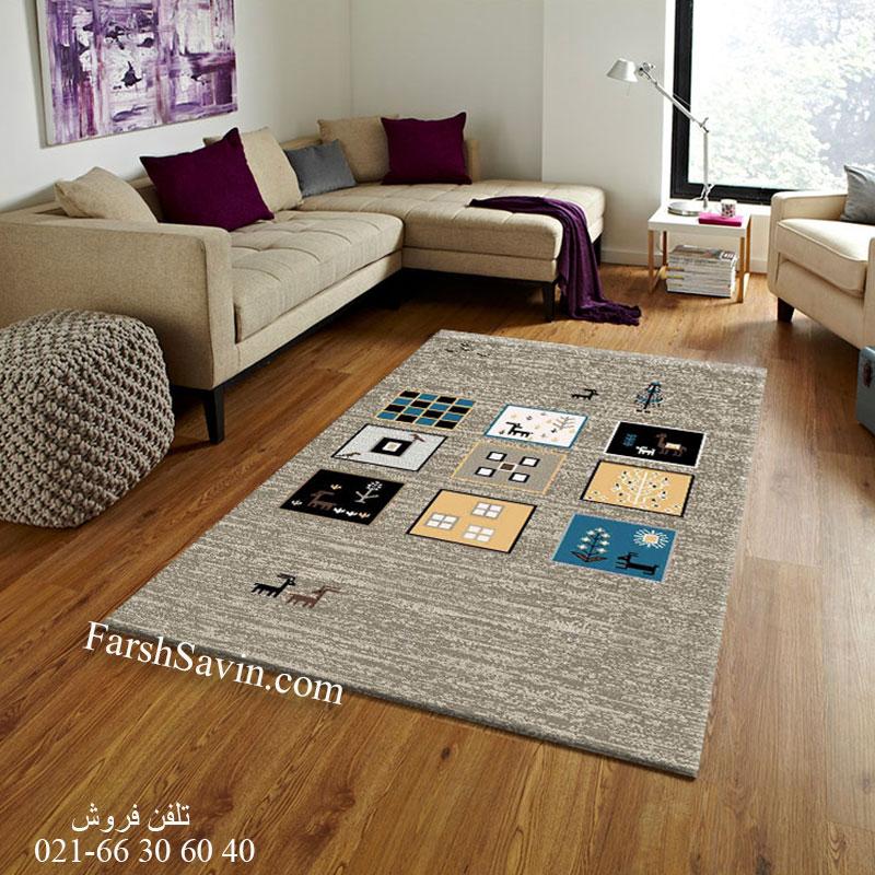 فرش ساوین 4068 شکلاتی فرش اتاق پذیرایی