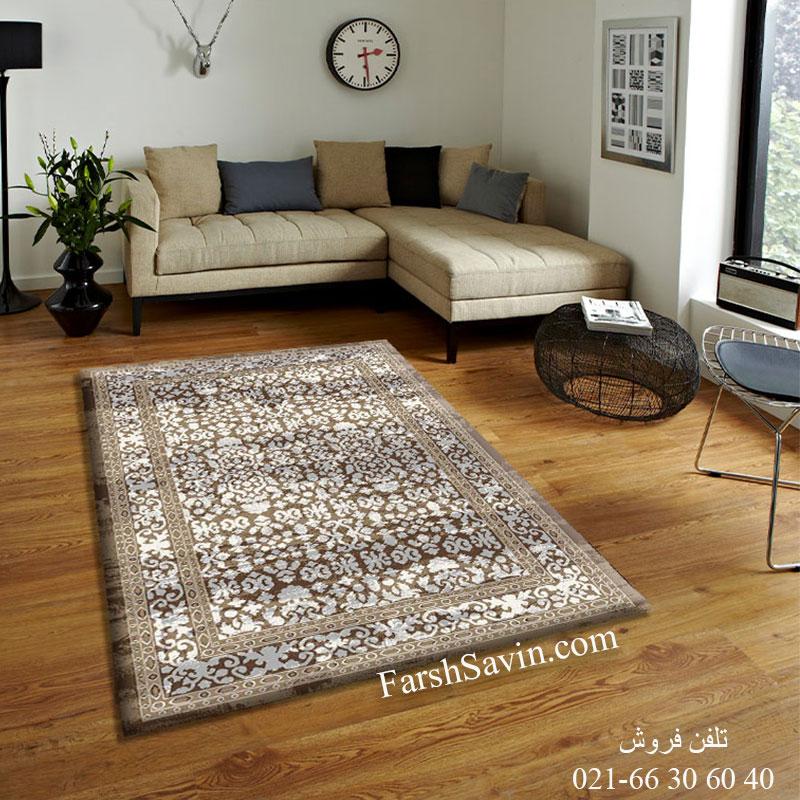 فرش ساوین 4068 شکلاتی فرش آشپزخانه