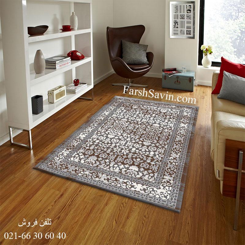 فرش 4068 طوسی ساوین فرش مناسب اتاق خواب