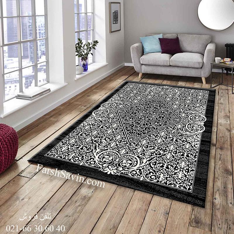 فرش ساوین 4069 مشکی فرش خوش نقشه