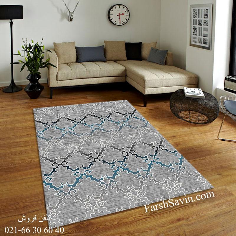 فرش ساوین 4072 طوسی فرش ارزان وشیک