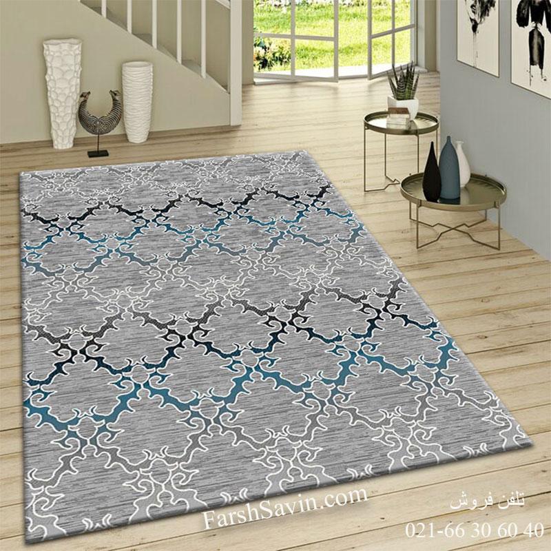 فرش ساوین 4072 طوسی فرش آشپزخانه
