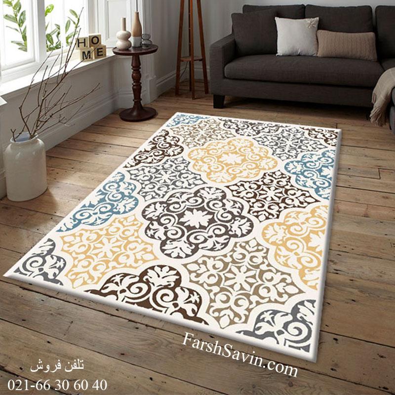 فرش ساوین 4073 کرم فرش اتاق پذیرایی